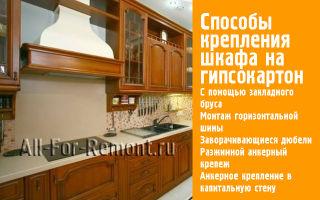 Вешаем кухонные шкафы на гипсокартон – 5 надежных вариантов