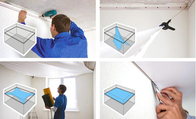 Последовательность работ по монтажу натяжного потолка