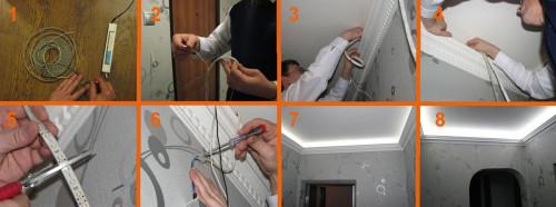 Пошаговый процесс монтажа светодиодной ленты на потолок