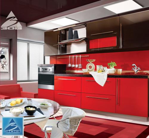 "Фасад кухни ""Зов"" красного цвета"