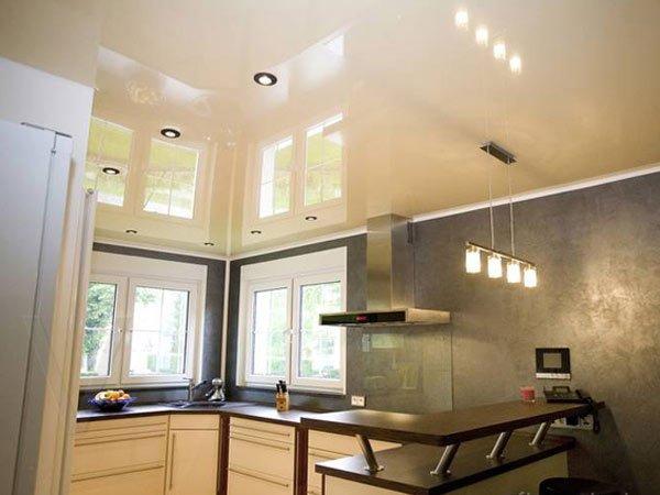 фото навесные потолки для кухни