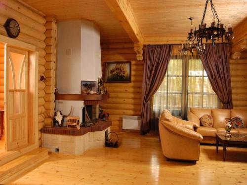 Фото комнаты, отделанной блок хаусом изнутри