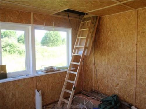 Стены и потолок, обшитые OSB
