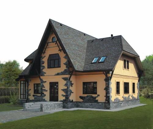 Дом из сэндвич-панелей отделанный искусственным камнем