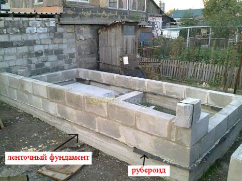 Между фундаментом и блоками прокладывается гидроизоляция