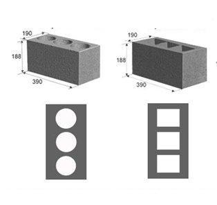 Блоки из керазита с различной пустотностью