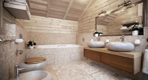Вариант отделки ванной кафельной плиткой-мозаикой