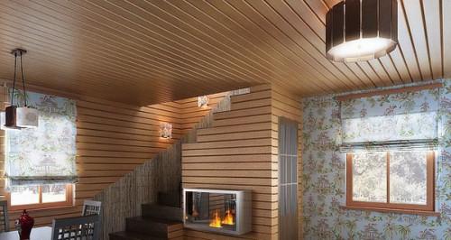 Стены и потолок, обшитые планкеном из сосны