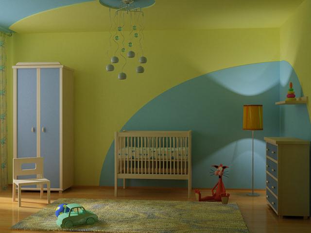 Отделка стен детской в зеоено-голубых тонах