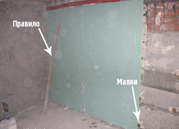 Выровненная с помощью ГКЛ стена