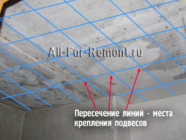 Размеенный под крепление подвеов черновой потолок